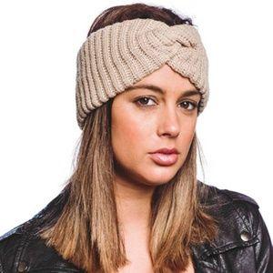 Knit Head Band Beige New